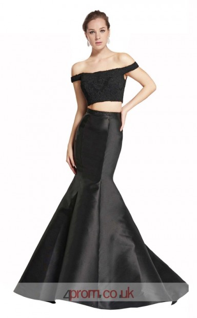 0b6eeb126ae1a Black Satin Lace Mermaid Off The Shoulder Short Sleeve Long Two Piece Prom  Dress(JT3554) - 4prom.co.uk