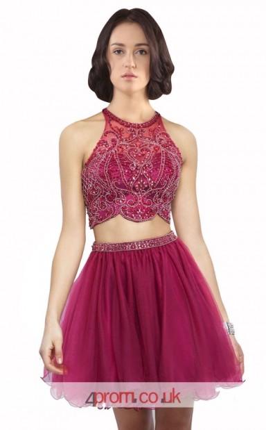 dd052b11acf Dark Burgundy Tulle A-line Halter Short Mini Two Piece Prom Dress ...