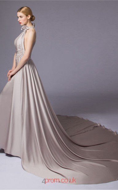 45c611e304e Silver Satin Chiffon A-line Halter Floor Length Prom Dress(JT3663) -  4prom.co.uk