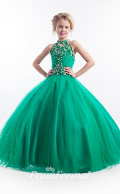 198d5827f36 Emerald Green Kids Girls Pageant Dresses Party Dresses with Halter Neck  BCH013 - 4prom.co.uk