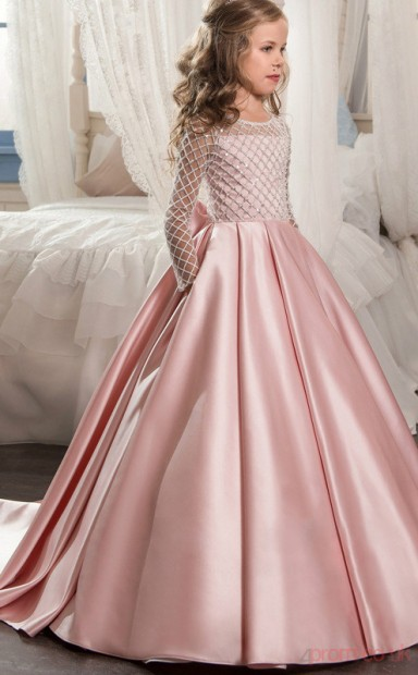 New Style Princess Long Sleeve Kids Prom Dress For Girls