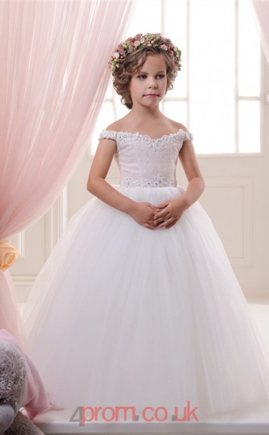 Off Shoulder Sleeveless White Kids Prom Dresses CHK044 - 4prom.co.uk 7ddeaccf1