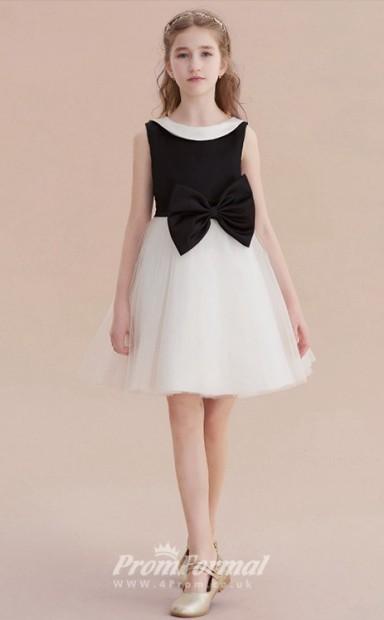 2ca322496d69 Short Kids Girls Black   White Formal Dresses with Bows CHK164 - 4prom.co.uk
