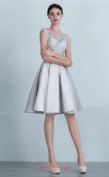 fffa74e37c3 Silver Satin Lace A-line Scalloped Short Sleeve Knee-length Prom Dress(JT3653)  - 4prom.co.uk
