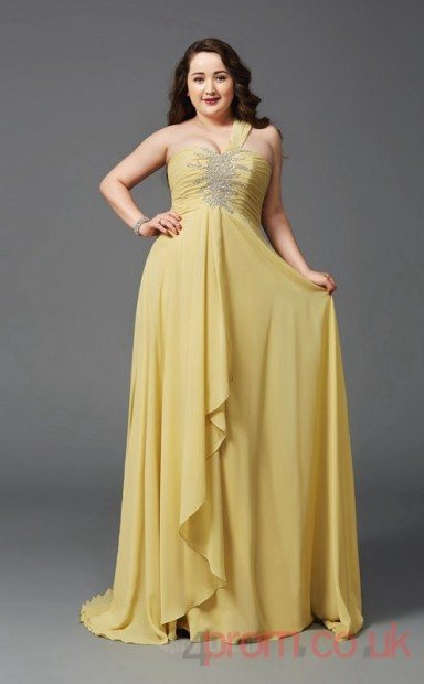 A Line Gold Lacechiffon One Shoulder Sleeveless Floor Length Plus