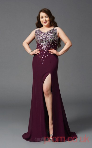 15be6e6e57e Trumpet Mermaid Dark Burgundy Sequined V-neck Sleeveless Floor-length Plus  Size Dress(PLJT8029) - 4prom.co.uk