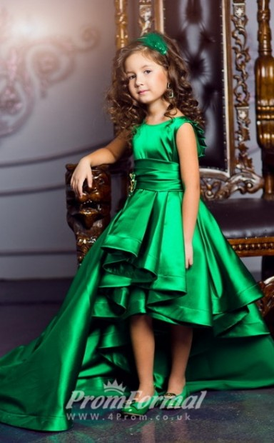 Princess Emerald Green High Low Girls Pageant Dresses For