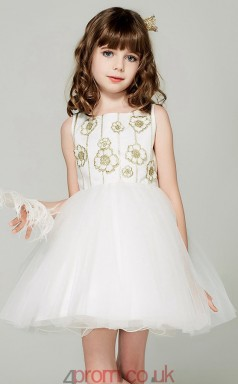 Princess Bateau Sleeveless Ivory Organza Mini Children's Prom Dress(AHC049)