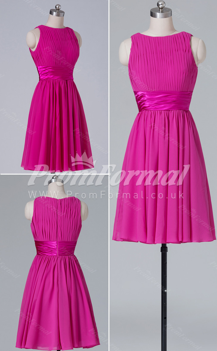 Chiffon Bateau Short A-line bridesmaid dress nz PRBD04-402