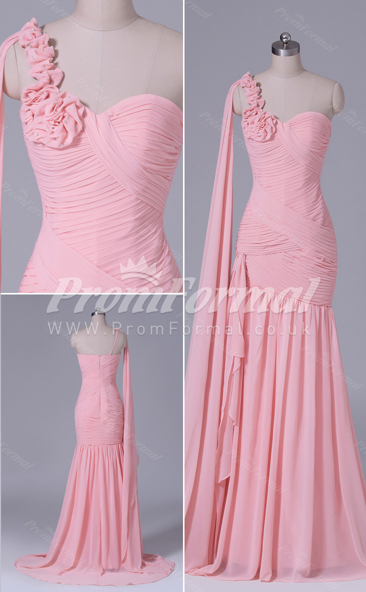 Velvet Chiffon One Shoulder Long Mermaid bridesmaid dress nz PRBD04-545