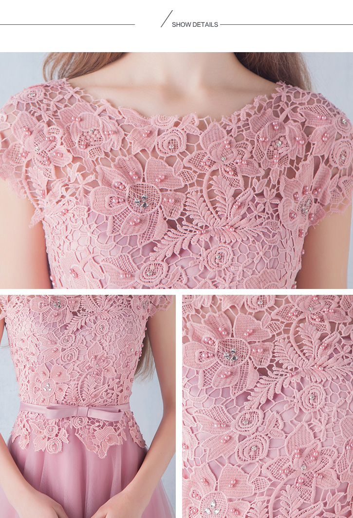lace Prom Dresses with Short Sleeves TB040 details 04